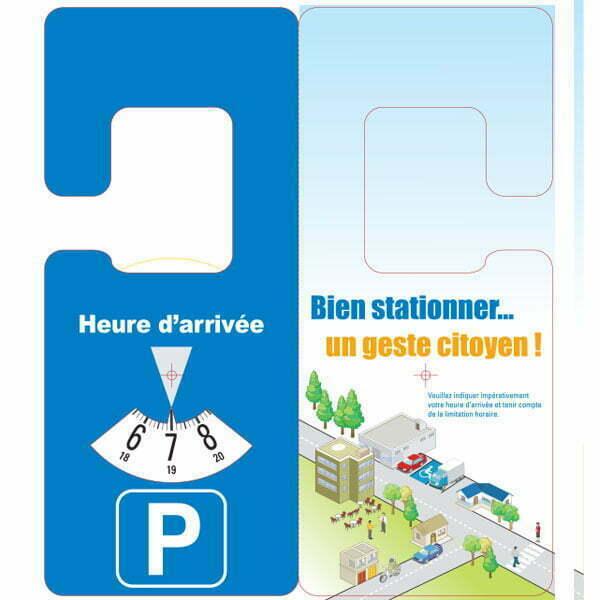 Disque de stationnement européen format 11×15 cm accroche rétroviseur